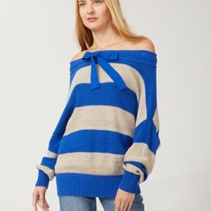 Free People Cassidy Pullover Off Shoulder Tie Neck
